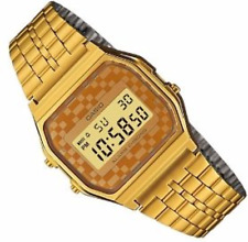 CASIO RETRO VINTAGE A159WGE CHECKERS GOLD TONE STEEL DIGITAL ALARM STOPWATCH