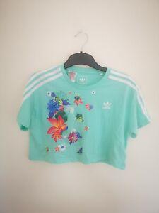 Adidas Age 9 Green Floral Print Detail Short Sleeve Crop Top