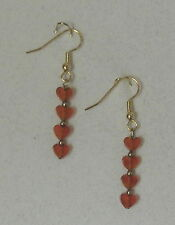 "EARRINGS- ORANGE CARNELIAN HEART BEADS- 1 3/4"" -GOLD PLATED HYPOALLERGENIC HOOKS"