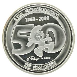 Belgium - Silver 5 Euro Coin - 'Smurfs' - 2008 - Proof