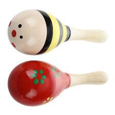 2 X giocattolo strumento musicale legno Maracas per i bambini O4G5 G7W5 T6V1