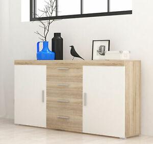 Kommode 150cm eiche sonoma weiß Modern Sideboard Wohnzimmer Schrank 67587645