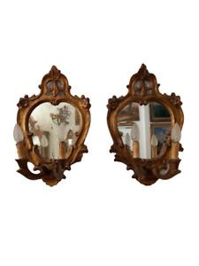 Coppia applique in legno dorato stile Luigi XV - barocchetto rococò - metà 900