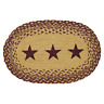 """1 Placemat, Table Mat, Burgundy Tan Stars, Braided Jute, 12""""x18"""", New, Country"""