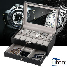 12Slot Leather Watch Case Display Box 2Layer Jewelry Storage Organizer Lockable