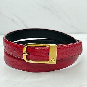 Liz Claiborne Vintage Red Embossed Genuine Leather Belt Size Medium 28