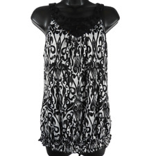 CATO Black & White Sequin Beaded Sleeveless Top Women's Size Medium