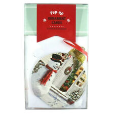 Pop Up Christmas Ornament Cards Front Door Snowman 8 Pack Pop Greetings