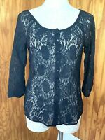Lucky Brand Womens XS Black Lace 3/4 Sleeve Shirt Blouse Peasant BOHO Top