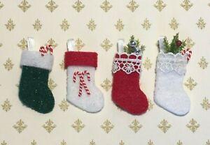 Miniature Dollhouse Christmas Stockings Set of 4 Handmade 1:12 Scale by Cyndi