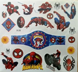 KIDS Temporary Tattoo SPIDER MAN Great PARTY BAG Size Sheet 11.5cm x 12.5cm