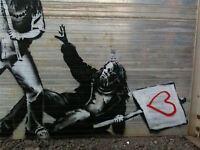ART PRINT POSTER PHOTO GRAFFITI STREET BANKSY GLASTONBURY PROTESTERS NOFL0372