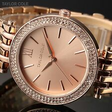 Taylor Cole Women's Rose Gold Crystal Analog Quartz Stainless Steel Wrist Watch