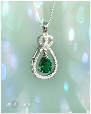 925 Sterling Silver pendant created Emerald gemstone. Chain Necklace Jewelry. @