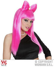 Long Pink Bow Wig With Broach Pop Star Lady Gaga Funky Emo Punk Fancy Dress