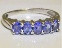 9CT TANZANITE ETERNITY RING 9 CARAT WHITE GOLD  5 STONE OVAL CUT  SIZE O
