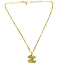 Chain Pendant Necklace 3858 Vintage Ak38983 Chanel Cc Quilted Logos Charm Gold