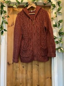 FAT FACE WINTER BERRY LUCIE KNIT HOODIE JUMPER TOP SIZE 16