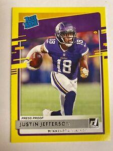2020 Donruss Rated Rookie Press Proof Justin Jefferson #313 Minnesota Vikings