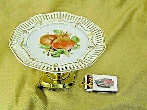 Tafelaufsatz Etagere  Anbieteschale mit Obstdekor dbr. Porzellan Messing #P1102