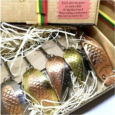 Fishing spoon set, handmade cooper lure, brass spinner bait, perch tackle