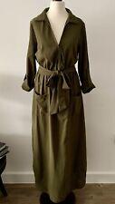 Shein Khaki Green Maxi Shirt Dress, Xs
