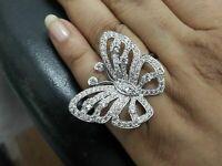 1.15 Ct Round Cut Diamond Open Butterfly Wedding Ring 14K White Gold Finish