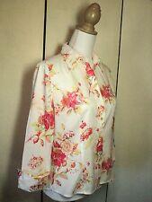 esprit floral  cotton shirt, soft  kidston type floral print coral white