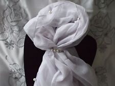 Scarf + Scarf Ring Gift Set White Pearl Beaded with Cream Pearl Ring +Gift Bag