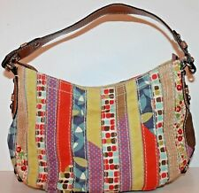 Fossil Patchwork Satchel Shoulder Bag Leather Canvas Purse Women
