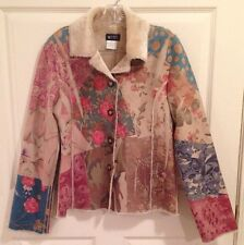 Mist Victorian Jacket Floral Paisley Camo Vintage Fur Lined S Multi-Colored Warm