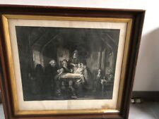 Antique Print- Saturday Night- 1856-7, by Thomas Faed , H Lemon 32x29