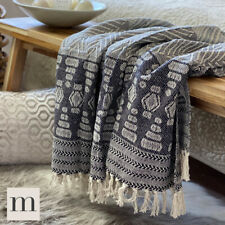 Luxury ECO Friendly Cotton Charcoal Grey Tribal Aztec Sofa Throw Blanket Large