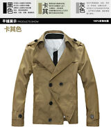 New Men's Long Sleeve Double Breasted Lapel Casual Short Trench Coat Jackets