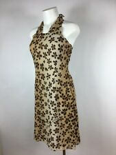 MOSCHINO ITALY Floral + Chic SIGNED Brown Silk Halter Cocktail Dress 8