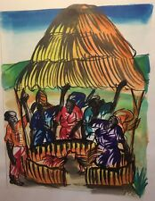 Vtg African Watercolor Painting Cockfight w Village Women Artist Signed ROSE