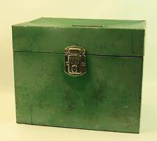 """Vintage Funky Green Porta File Metal Box No Key 12.5""""x9""""x10"""""""