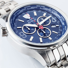 DETOMASO Aurino Mens Wrist Watch Chronograph Blue Dial Sapphire Coated Glass New