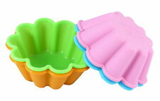 """Bakerpan Silicone Mini Cake Pan Mold 3 1/2"""" Round Colored Large Muffin Set of 4"""