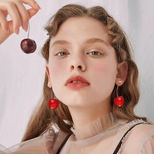 Women Cute Resin Round Red Cherry Fruit Drop Dangle Earrings Party Jewelry Gift