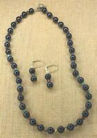 Beautiful Black & Purple Glass Bead Necklace & Earring Set