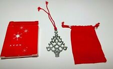 Avon Pewter Christmas Tree Ornament  & Pouch 2004