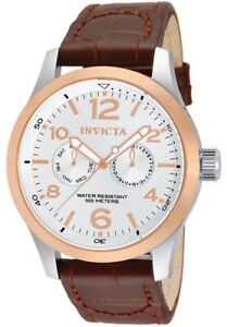 Invicta Men's 13010 I-Force Stainless Steel Genuine Leather Brown Band Watch
