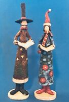 Whimsical Tall Skinny Pencil  Christmas Carolers Lot of 2  (a)