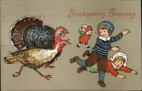Thanksgiving Turkeys Chase Children EBC 1814 c1910 Postcard