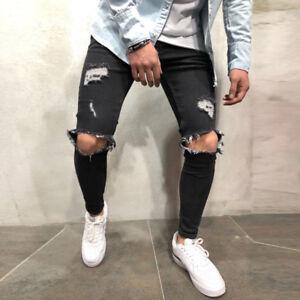 Herren Slim Stretch Zerrissene Denim Jeans Hose mit Rissen Destroyed Opptik DE
