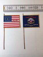 869) 2x 28mm ACW Union Infantry 124th New York Regt. Flags National & Regimental