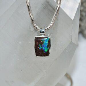 Boulder Opal Anhänger, 925er Silber, Edelsteinanhänger (13537), Edelsteinschmuck