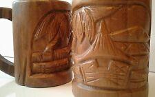 Vintage Polynesian tiki mugs solid wood carved palm trees tiki huts from Fiji