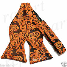 New Brand Q Men's micro fiber formal Self-tied Bow tie only rust black paisley